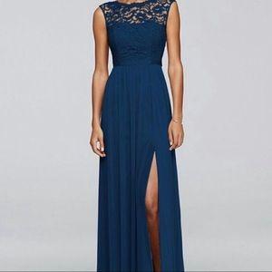 David's Bridal Marine Blue Lace Top Maxi Dress
